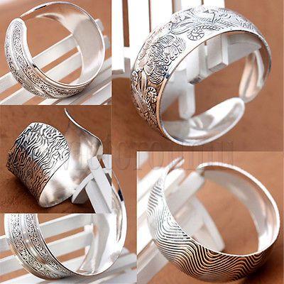 Classic Patterns Carved Tibetan Silver Women Men Open Cuff Bracelet Bangle DA