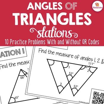 Students practice using the Triangle Angle Sum Theorem and Exterior Angle Sum Theorem to calculate missing angle measures in triangles.
