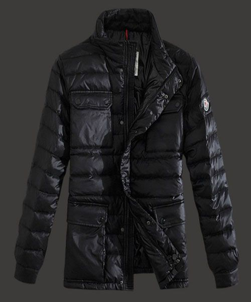 2013 Moncler Arnoux Down Jacket Men Stand Collar Black [2781826] - £208.63 :