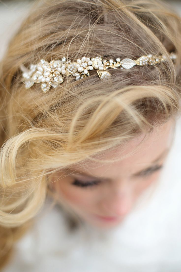 Jeweled Hair Band -- from MariaElenaHeadpieces.com -- more on #SMP here: http://www.StyleMePretty.com/california-weddings/2014/05/01/majestic-fairytale-wedding-inspiration/ Photography: MariaLonghi.com