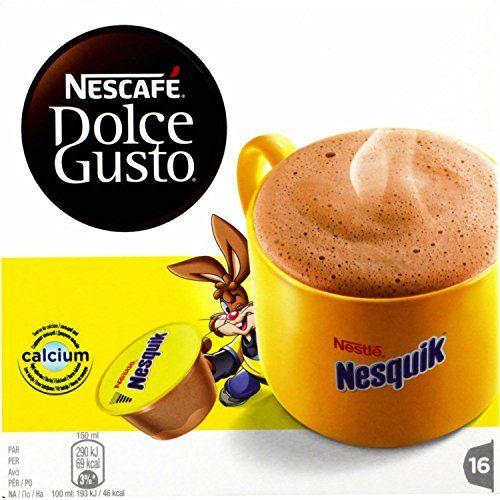 NESCAFÉ Dolce Gusto Nesquik 16 Capsules 256 g: Tout le plaisir Nesquik® associé à une mousse gourmande et généreuse. Source de calcium pour…