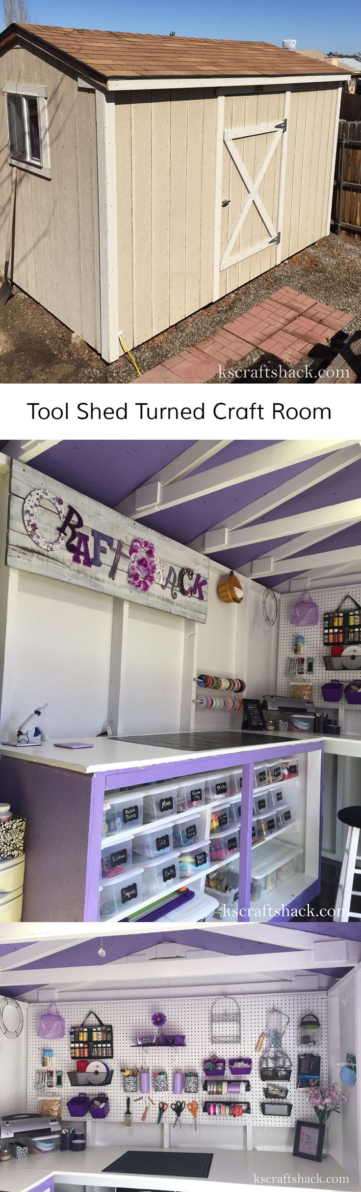 Tool Shed Turned Craft Room || Great way to have a craft room when there's no room in the house.