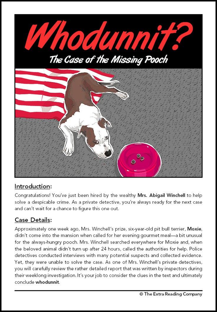 FREE The Case of the Missing Poodle~  Inferential mystery with guide for class activities.