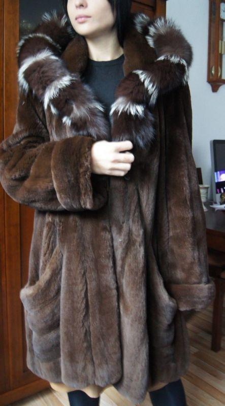 Soldes Manteau de fourrure manteau de vison samtnerz nerzjacke mink fur coat Visone норковая шуба