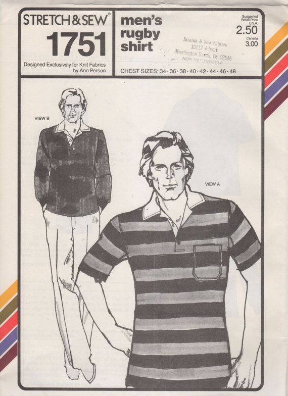 Stretch & Sew 1751 1970s Mens  RUGBY SHIRT  Pattern Mans Vintage Sewing Pattern Chest 34 - 48 UNCUT