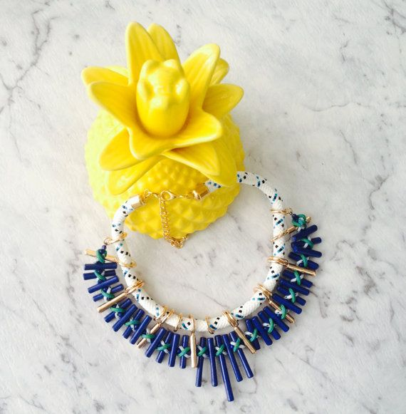 Blue Collar Necklace by AmoreAndAdore on Etsy