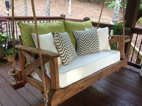 56 DIY Porch Swing Plans [Free Blueprints With a repurposed crib mattress for our cushion, we are enjoying our new swing!   #diy #bedswing #repurpose