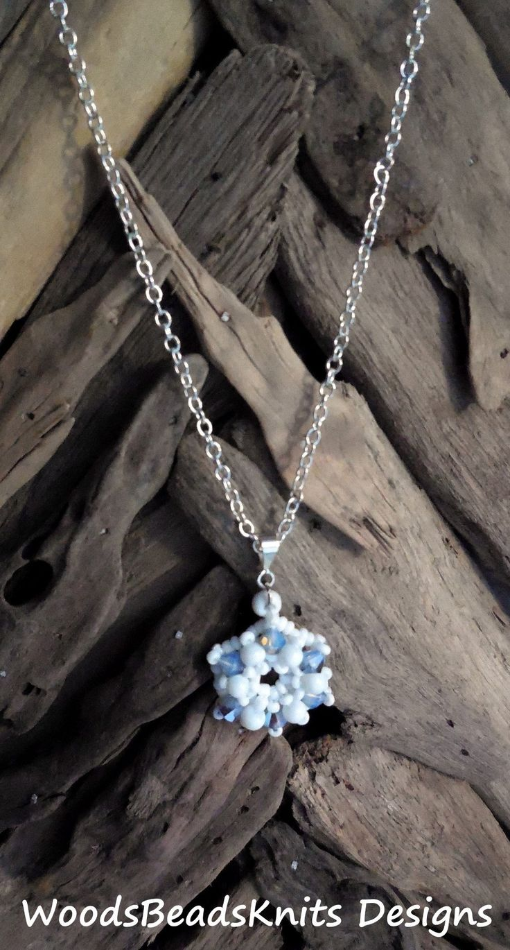 Beaded Pendant, Snowflake, Swarovski Crystals, Glass Beads, Silver Plated Bail, Lightweight, Mother Day Gift