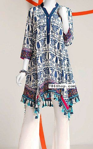 7a03becb79 Off-white/Blue Lawn Kurti | Buy Junaid Jamshed Pakistani Dresses and  Clothing online in USA, UK