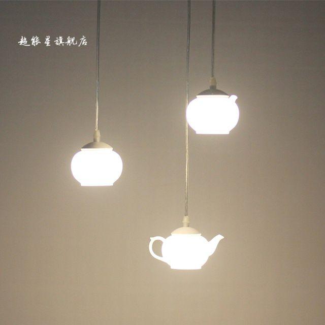 Lâmpadas de iluminação led lighting acrílico pingentes bule copo da lâmpada de luz
