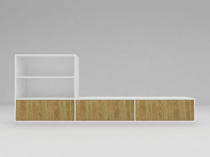 Minimalist modern furniture - Lemari TV Minimalis Shape L - White Elegant Teak