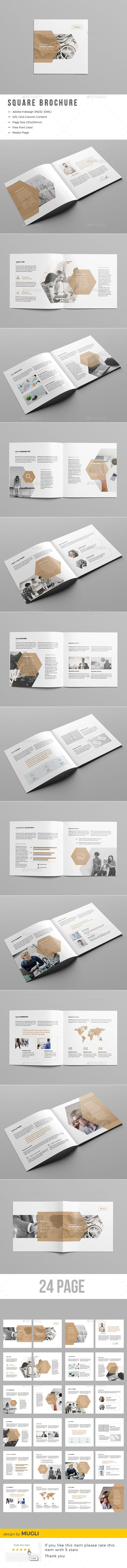 Corporate Square Brochure Template InDesign INDD More