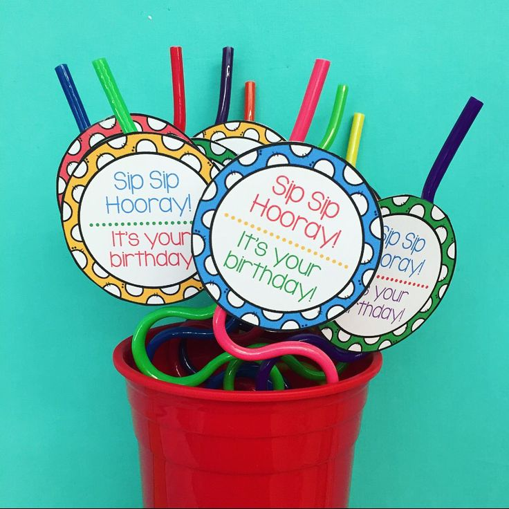 Crazy straws are the perfect gift to give your students on their birthday! These colorful labels look so festive when taped to crazy straws and put into a cup, vase, or basket! Place them near your birthday month bulletin board and you students will be counting down the days until their birthday arrives!