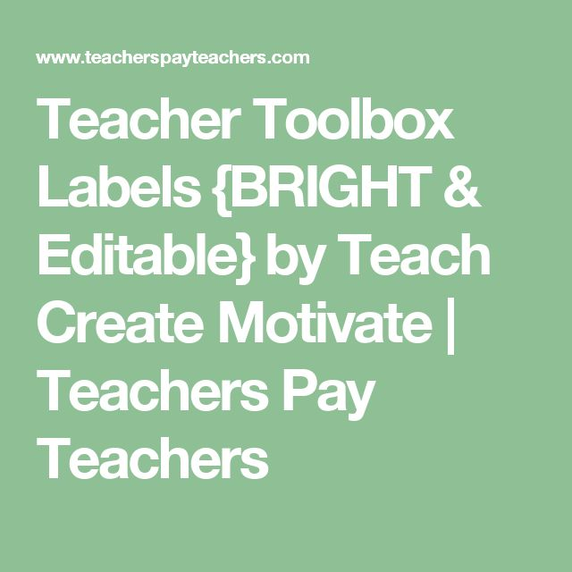 Teacher Toolbox Labels {BRIGHT & Editable} by Teach Create Motivate | Teachers Pay Teachers