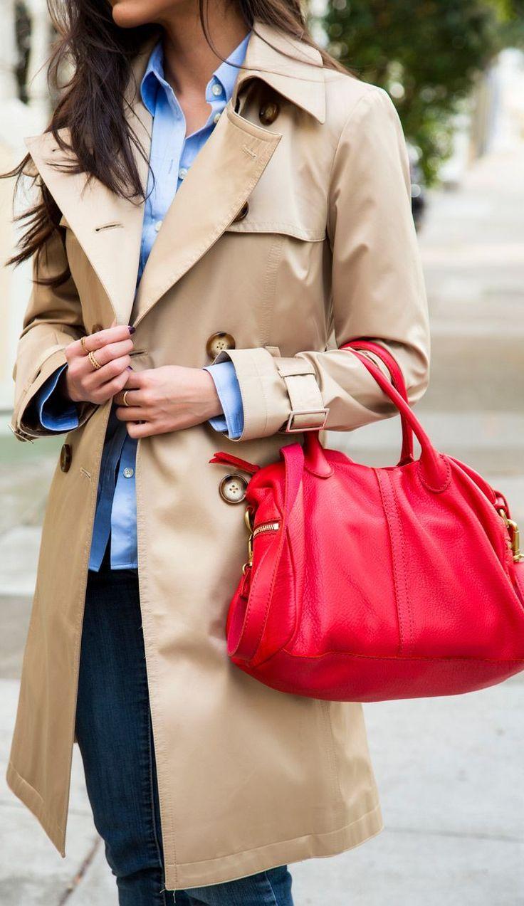 Red handbag and camel coat