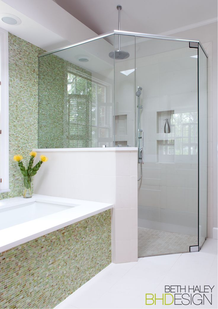 Green Tile Bathroom with Shower Enclosure