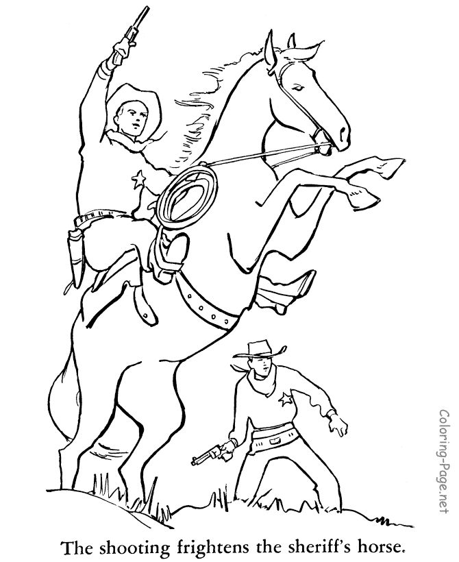 Horse Coloring Page - Cowboy on horse