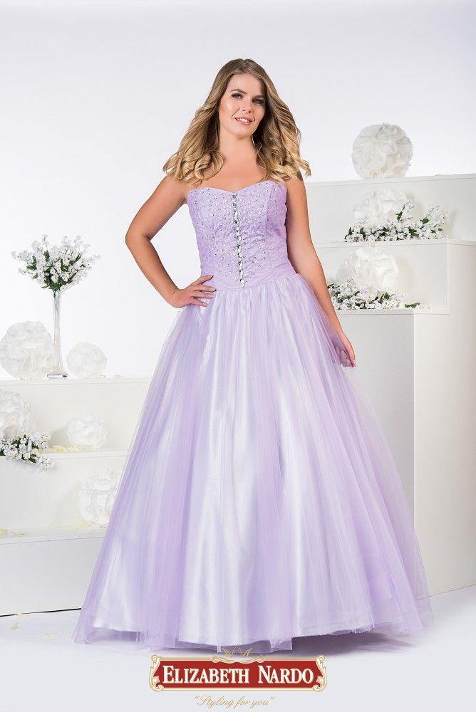 0ff5604ecd 19-326 Tüllös, abroncsos levendulaszínű ruha, toppos , gazdagon díszített  felső résszel