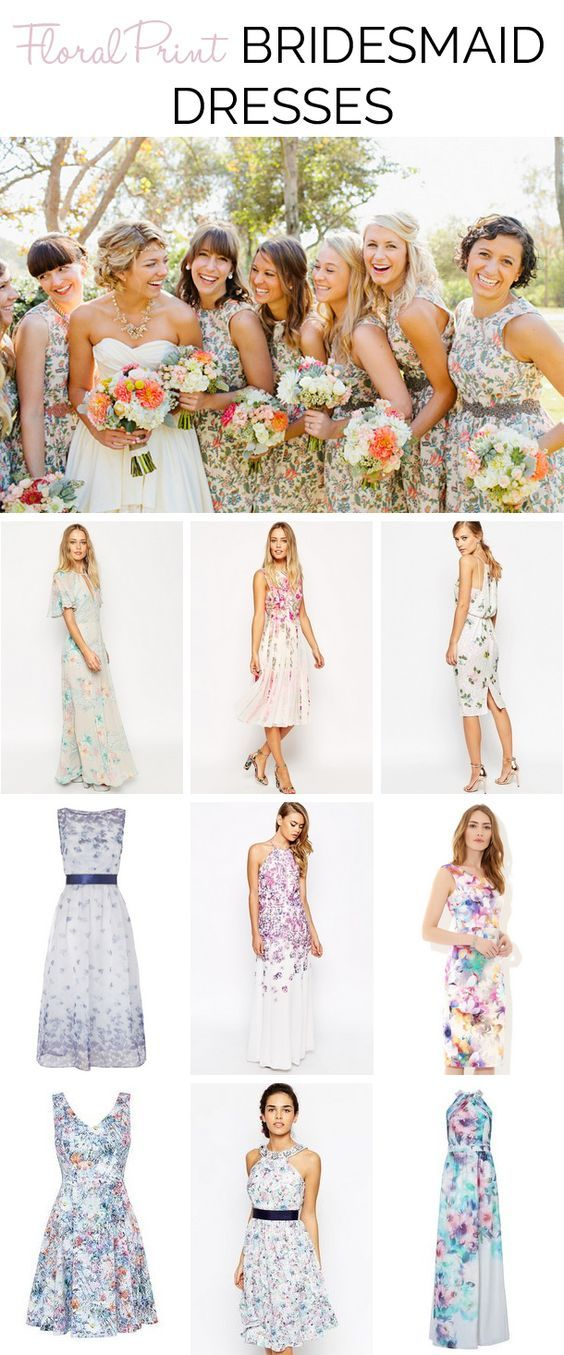 Floral Print Bridesmaid Dresses | SouthBound Bride #floral #bridesmaids | http://www.southboundbride.com/get-the-look-floral-print-bridesmaid-dresses | Top image: Mr Edwards Photography and Design via Style Me Pretty