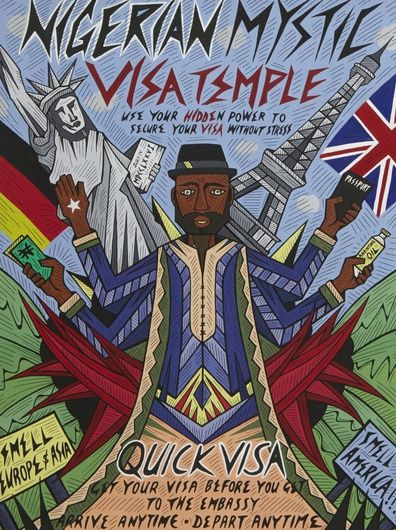 """Karo Akpokiere, Nigerian Visa Mystic Empire, 2013. Gouache and ink on 300gms watercolour paper. 16"""" x 12"""" © the artist"""