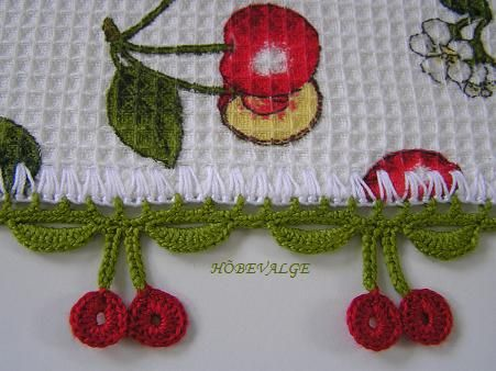 Crocheted towels with adorable hand crocheted cherry edging