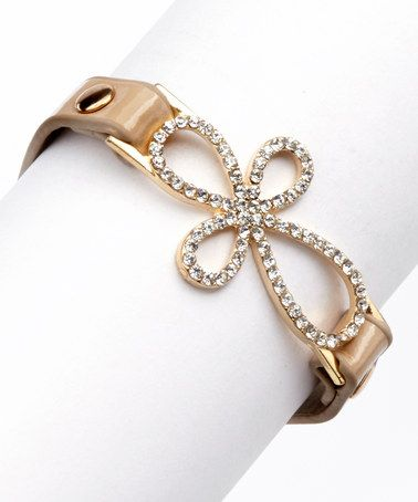 Loving this Tan & Gold Open-Cross Bracelet on #zulily! #zulilyfinds