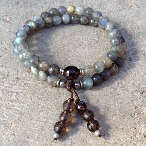 Serendipity and positivity, Labradorite and smoky quartz 54 bead wrap bracelet! --- I have both, making this tomorrow!!!