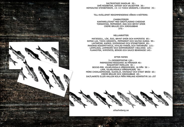 I have made menu and business cards to Olle Ahnbergs restaurant at Östangård in Skillinge, summer 2013.