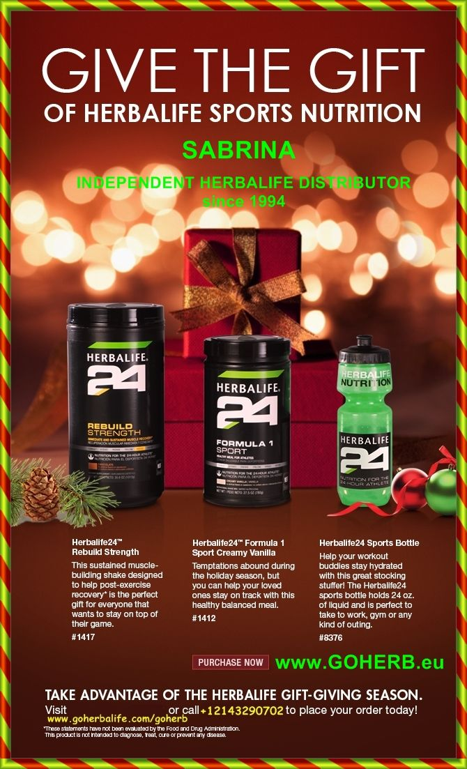 Take advantage of the Herbalife Gift-Giving Season and start your holiday shopping early! Give the gift of Fitness and Health to your dear ones! With our Herbalife24 Products! ...
