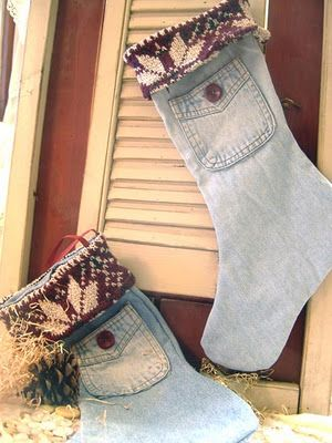 make stockings from old clothing...the first stockings I made for us were out of jeans, this reminds me of how much I love them.