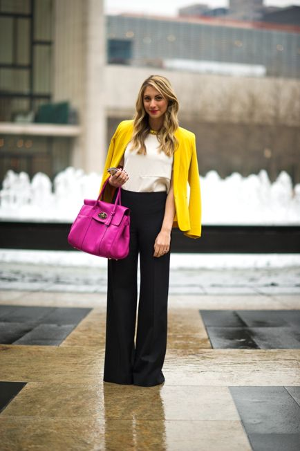 bright colors on a dreary day: Work Wardrobes, Summer Fashion, Bright Color, Black And White, Pink Bags, Color Blazers, Work Outfit, Offices Wear, Yellow Blazers