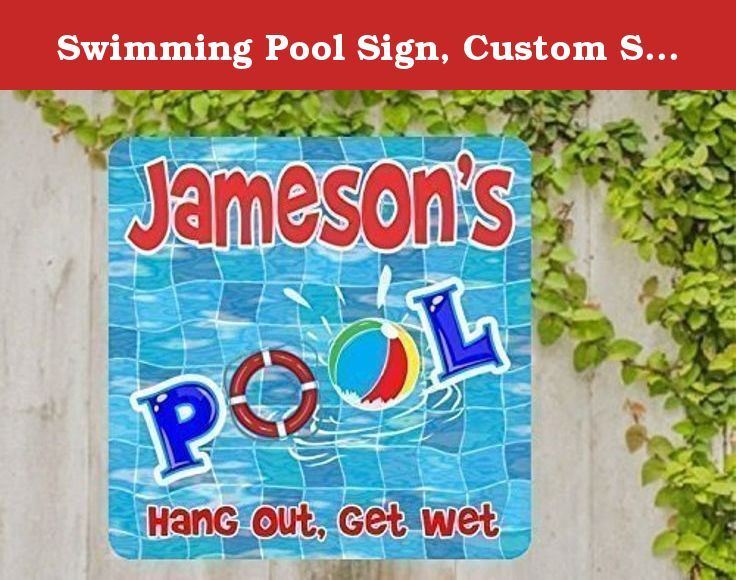 """Swimming Pool Sign, Custom Sign, Personalized Sign, Pool Decor, Fun Sign, Housewarming Gift, Home Decor, Life Preserver & Beach Ball. Decorate your next pool party with this perfect pool sign for your summer fun. Personalize your sign with your family's name above """"Pool"""", spelled with fun life preserver and beachball O's. """"Hang Out, Get Wet"""" lines the bottom of the sign, or customize it further with your family's own swimming motto. This colorful text sits on a wavy blue pool tile…"""