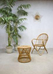 Vintage rotan lounge set fauteuil & kruk, vintage rattan chair www.bestwelhip.nl
