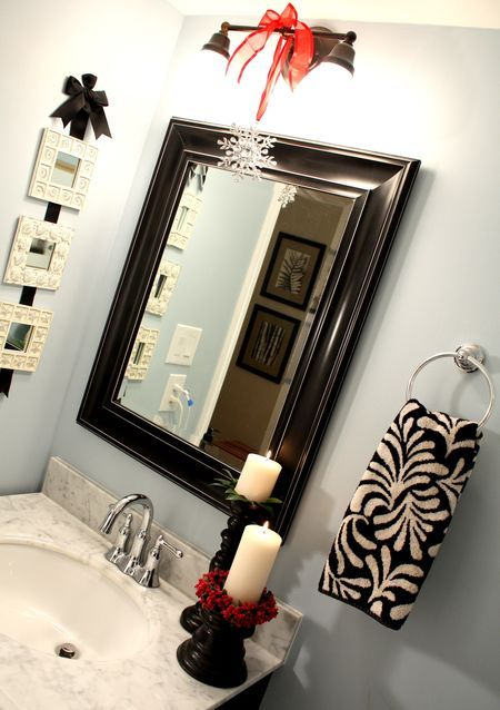 Bathroom decor idea. Ribbon pictures with baby photos of Michael, me and Astro taking bath. Candles and candle holders for tub corners?