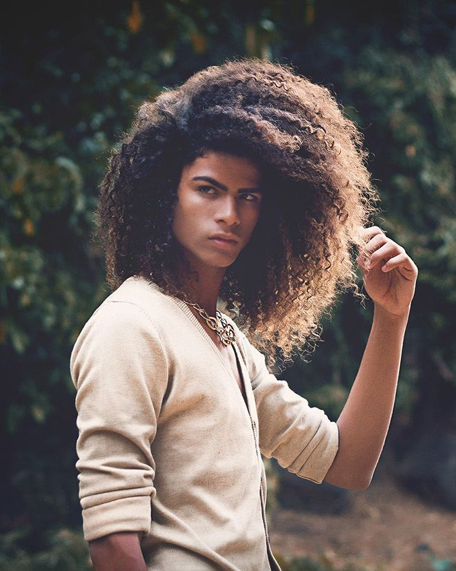 French-African male model Cohé Paroix (guys, long hair, curly)