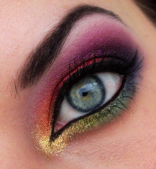 Rainbow eye makeup, I think it would be better if it was a bit more subtle.