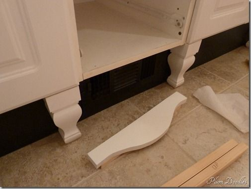 Giving a standard cabinet furniture style - adding legs and skirt. Use for kitchen or bathroom