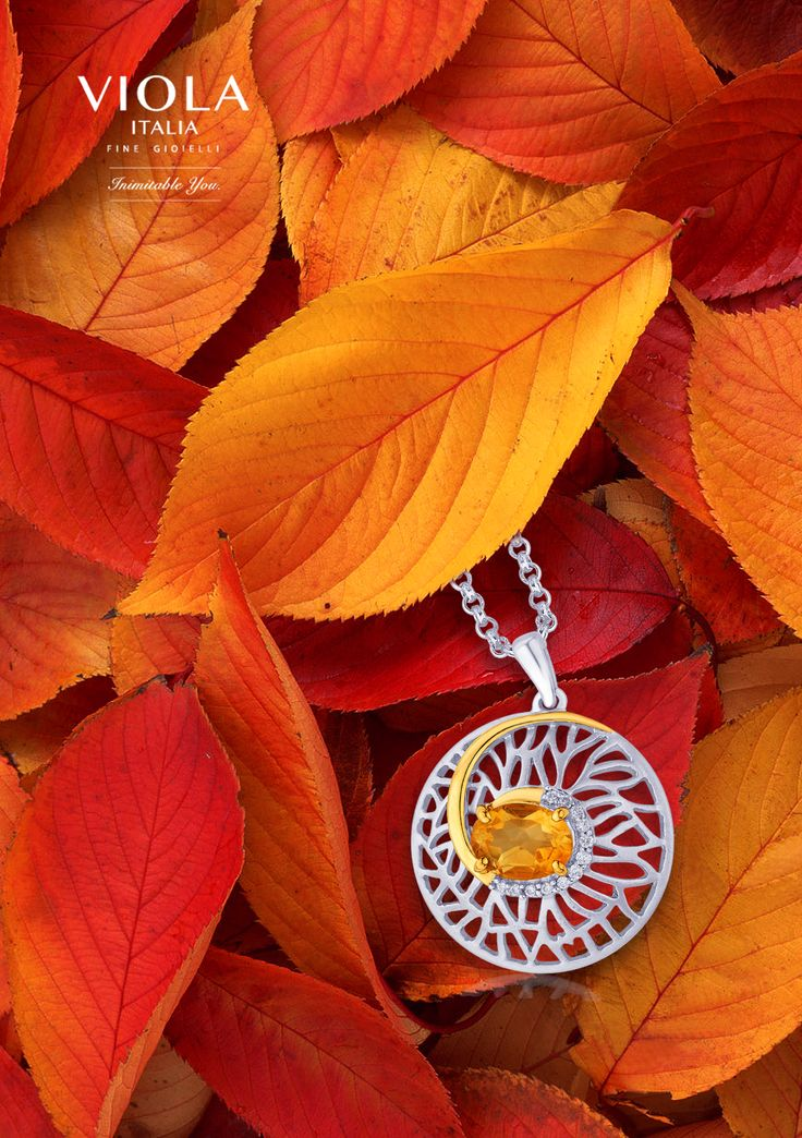 Phenomenal colour of Autumn leaves  is mirrored in this warming Citrine Pendant from the Ajoure collection #Ajoure #Citrine #MotherNature #Nature #Shoot #Jewellery