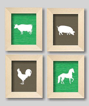 Loving this Brown & Green Farm Animal Nursery Wall Art Set on #zulily! #zulilyfinds
