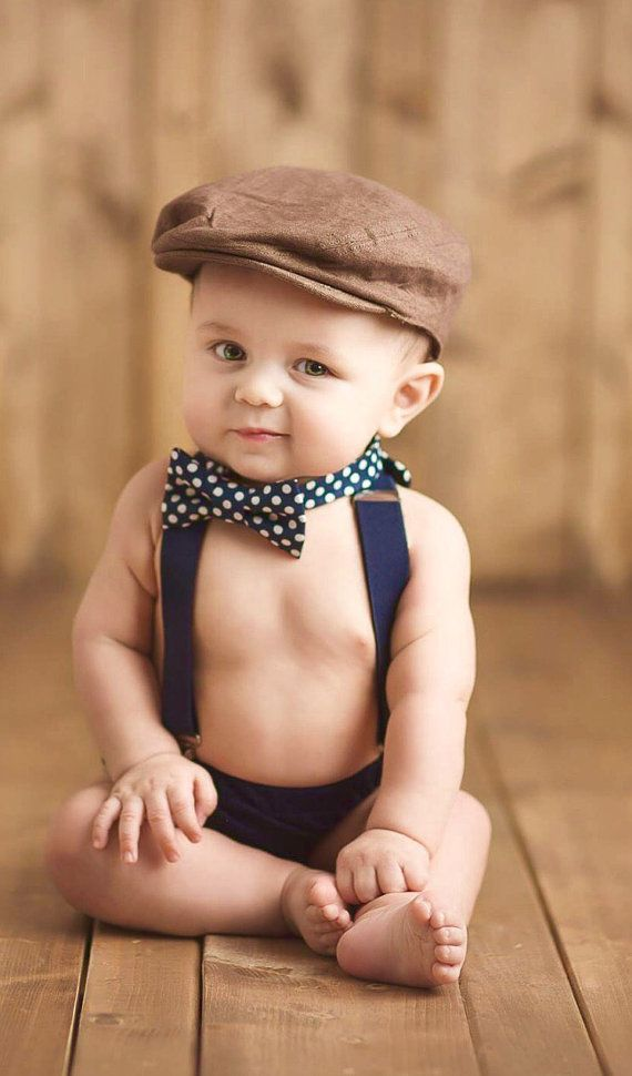 Navy boy bow tie suspenders set navy polka by TheLittlestGentleman