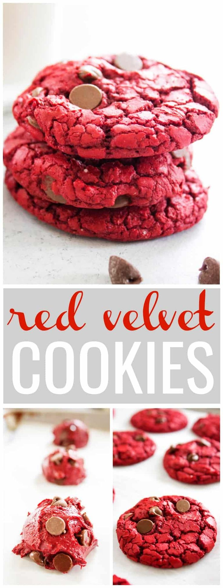 RED VELVET CAKE MIX COOKIES- Easy and made with only with 4 ingredients, these cookies are insanely delicious. Perfect for Valentines Day. #redvelvet #redvelvetcookies #cookies #redvelvetcake