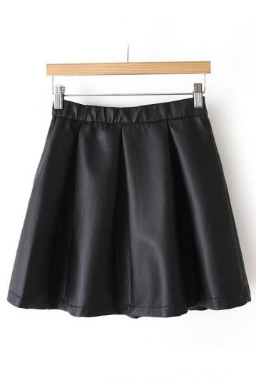 REGISTER ON PERSUNMALL.COM PU Leather  Pleated Skirt with Zipper