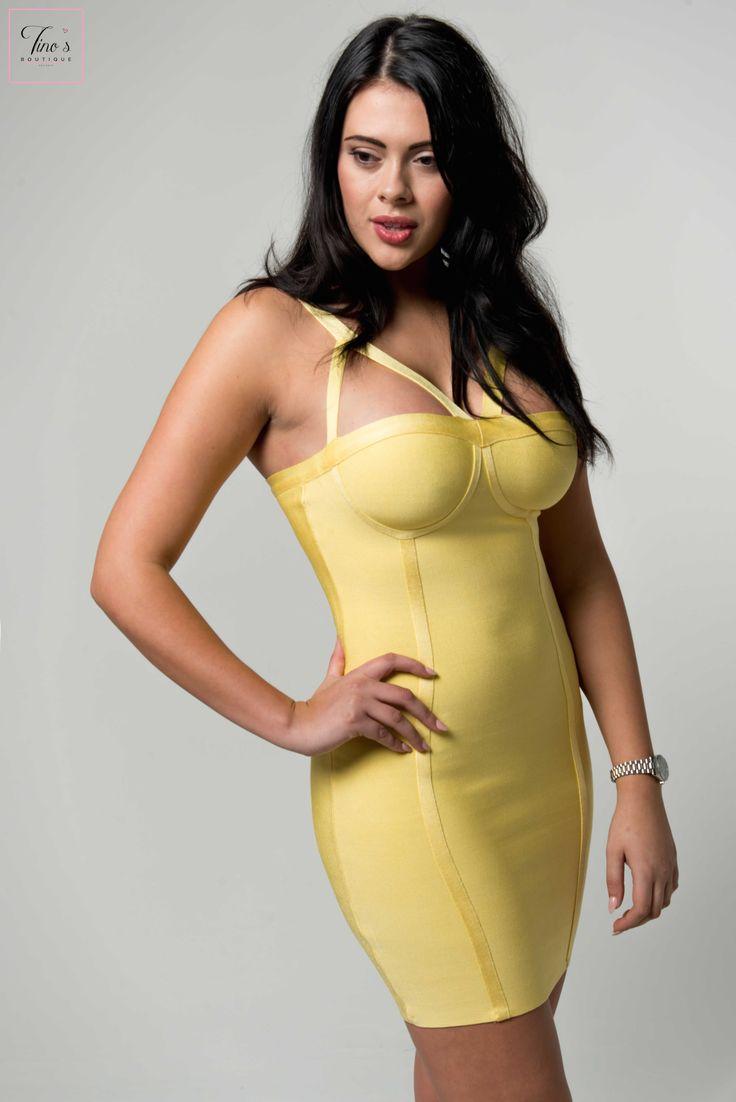 'Sadie' Lemon Peephole Strap Detail Bandage Dress
