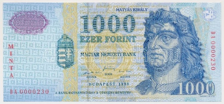 Hungary 1998. 1000 Forint with MINTA (specimen) overprint and DA 0000230 serial number C:UNC  Adamo F55M2  Dealer Darabanth Auctions  Auction Minimum Bid: 4000.00 HUF (app. 15 EUR)