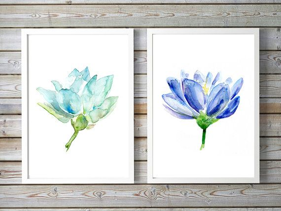 blauwe Lotus Aquarel  lotus kunst  set van 2 prints  door Zendrawing