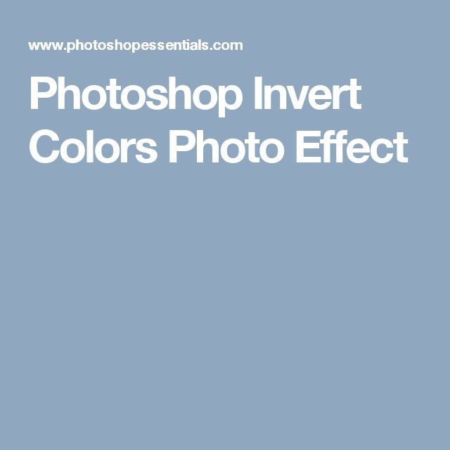 Photoshop Invert Colors Photo Effect