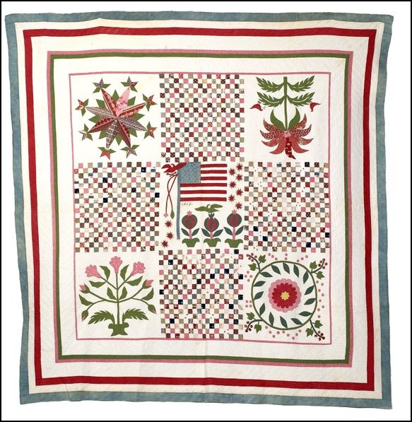 """The central block is enhanced with embroidery and contains an embroidered date of 1863. Framed in multiple square borders and finely quilted overall with line quilting; approx. size 85"""" x 89"""".  http://www.cowanauctions.com/auctions"""