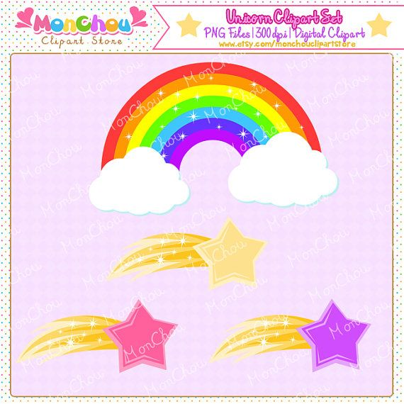 Unicorn Clipart Set - For Commercial and Personal Use Cliparts Set of 10 pieces unicorn themed cliparts! You will get a set of 10 pieces 300dpi high-quality cliparts in .PNG format with transparent background. This clipart set includes 6 unicorn cliparts, 3 shooting star