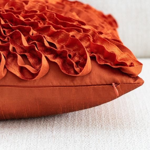 rust textured accent pillow cover with