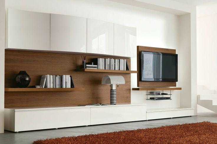 Mobile soggiorno moderno 546 in raffinato noce canaletto e for Mobile soggiorno bianco
